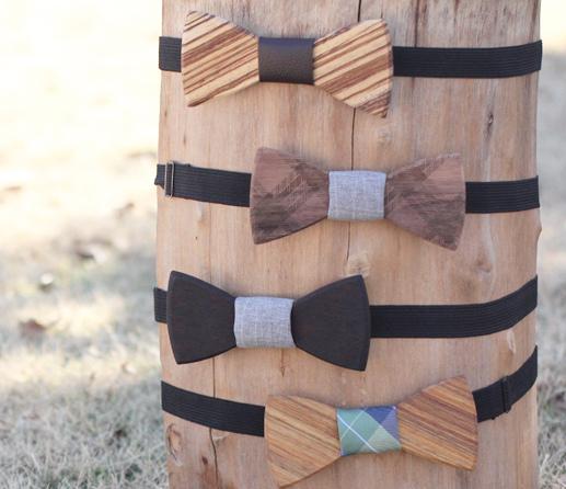 Gravata borboleta de madeira