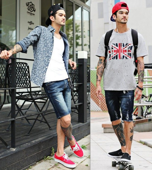 Looks Homens Bermuda Jeans (3)