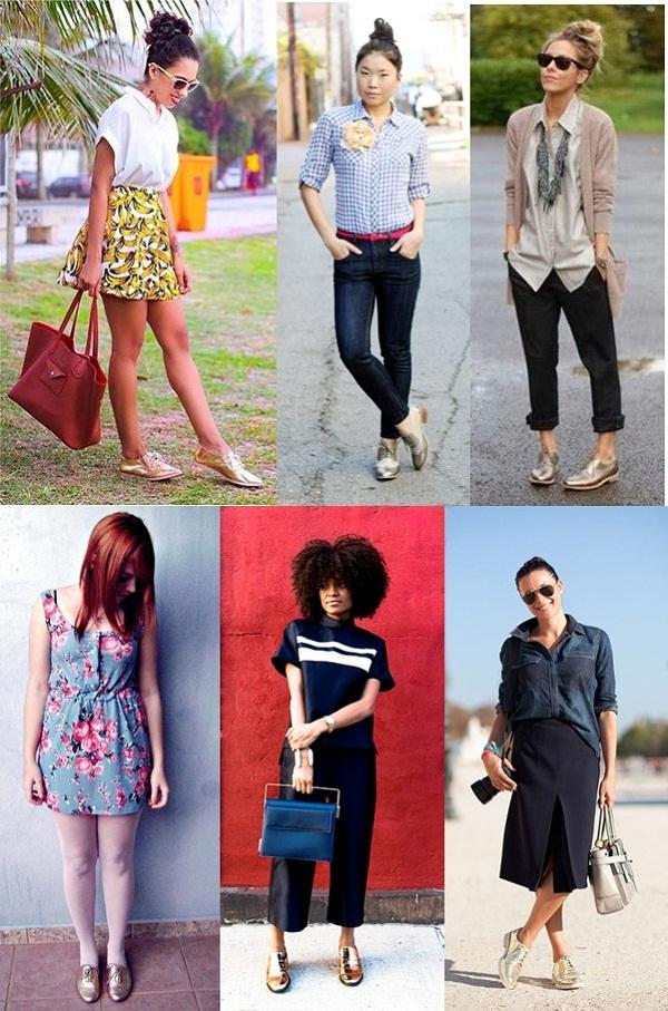 fc0fdbb2e6 Street Style: Sapato Oxford Dourado | Passarela Blog | Moda Feminina ...