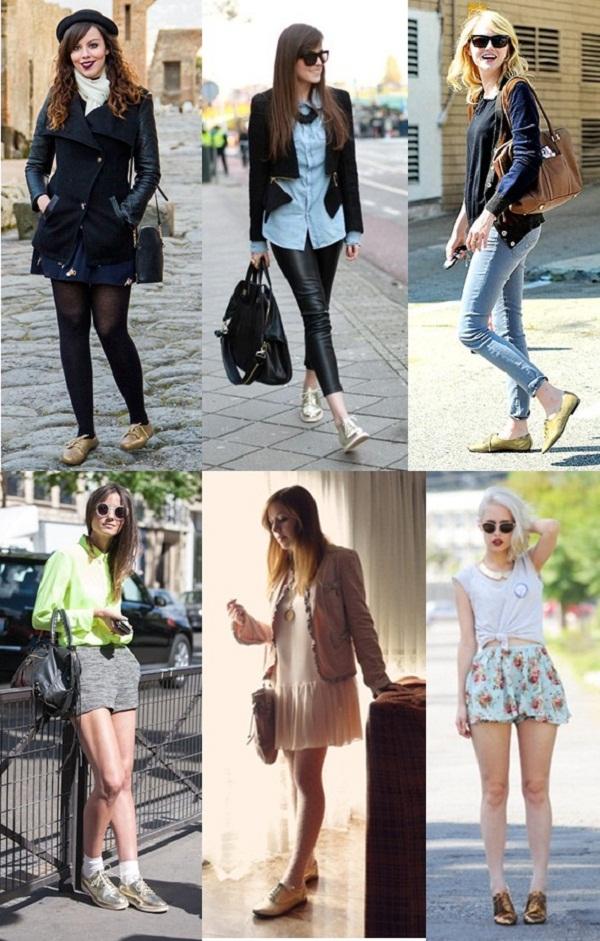 Street Style Sapato Oxford Dourado