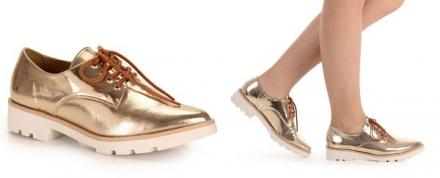 Street Style: Sapato Oxford Dourado