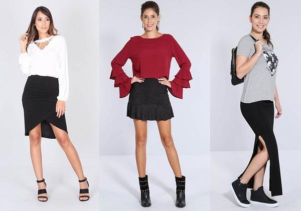 Saias para que te quero! Longas, curtas, com aplicações, básicas ou rodadas, as saias garantem o charme em qualquer look