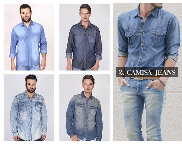 6 peças masc - camisa jeans