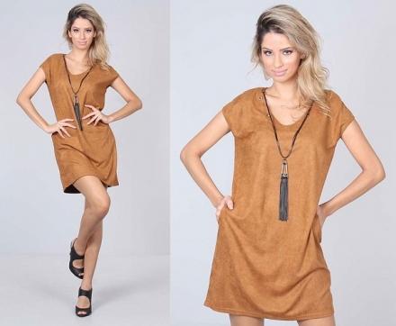 1 peça = 3 looks: Vestido Suede Caramelo