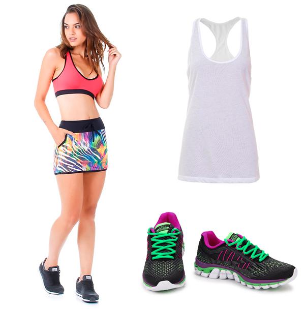 roupas e tênis feminino