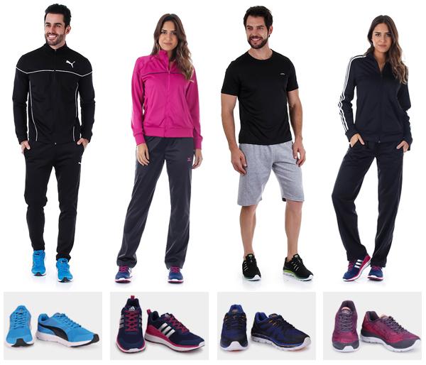 Tênis e roupas para academia