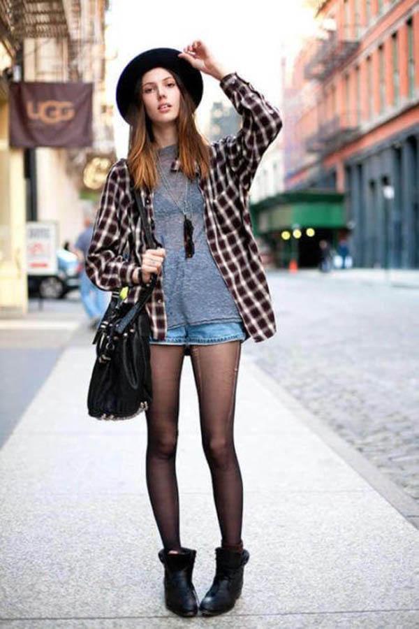 Camisa xadrez + Chapéu