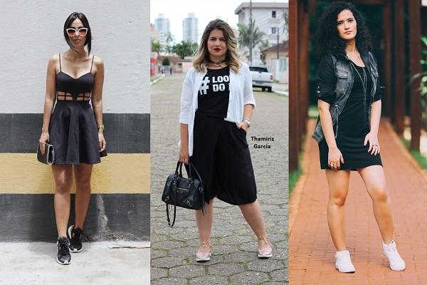 vestido preto com tênis
