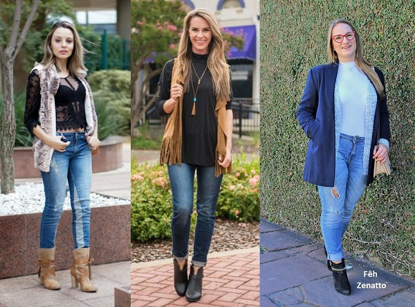 Bota cano curto com jeans