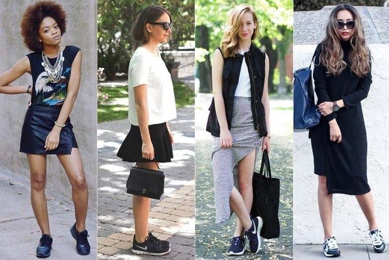 Combine o tênis com vestidos ou saias
