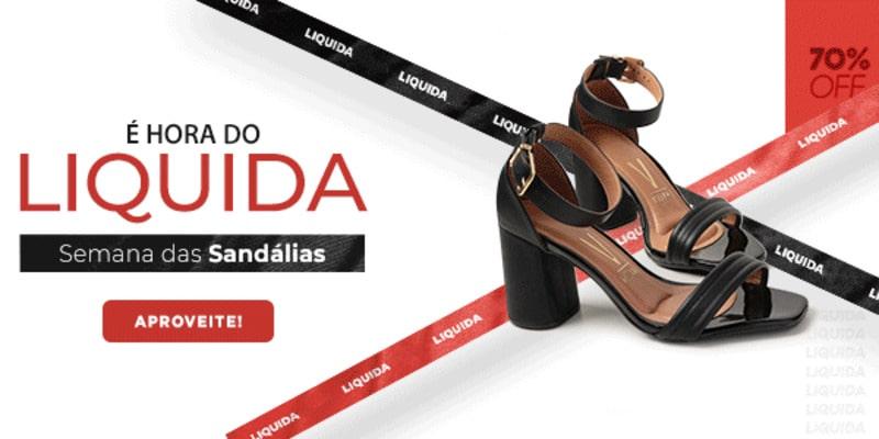 Promoção de Liquida Passarela, com sandália preta Vizzano em destaque