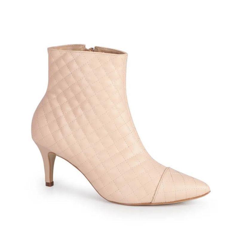 Bota ankle boots matelasse feminina rosa em promoção no site Passarela