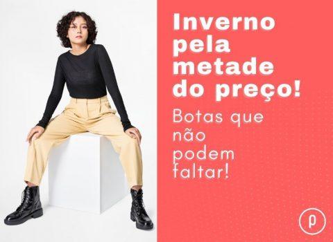 Mulher estilosa usando uma bota feminina - Botas femininas em promoção. Inverno pela metade do preço! Bota que não podem faltar